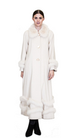 Bella Fare Long Swing Cashmere Coat With Fox Trim