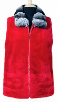"25"" Red Sheared Mink Zip-Up Vest Chinchilla Collar"
