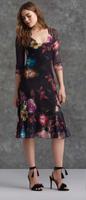 Komarov Faded Floral Deep V-Neck Dress