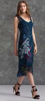 Komarov Faded Pattern Sapphire V-Neck Dress