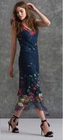 Komarov Navy Faded Floral V-Neck Dress