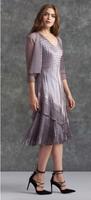Komarov Pebble V-Neck Layered Dress