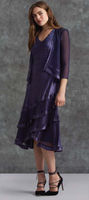 Komarov Deep Heather Purple V-Neck Dress