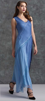 Komarov Heather Blue V-Neck Gown