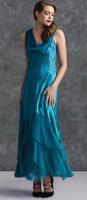 Komarov Sapphire Blue Draped Neck Gown