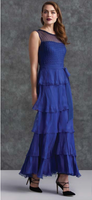 Komarov Deep Blue Layered High Neck Gown