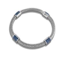 John Hardy Classic Chain Medium Four Chain Bracelet with Blue Sapphire