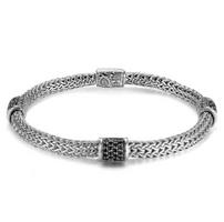 John Hardy Classic Chain Medium Four Chain Bracelet with Black Sapphire