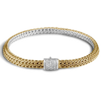 John Hardy Classic Chain 6.5 MM Reversable Bracelet in Silver and 18k Gold