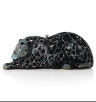 Judith Leiber Couture Black Jaguar Wildcat Handbag