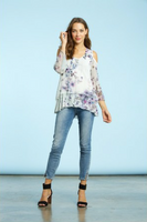Komarov Midsummer Bloom Cold Shoulder Top