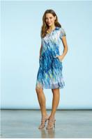 Komarov Sapphire Tide Button Up Dress