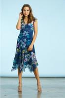 Komarov Floral Gem Dress with Asymmetric Hem