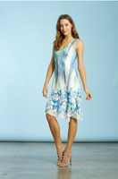 Komarov Rainforest Breeze V-Neck Asymmetrical Dress