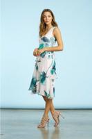 Komarov Emerald Spring V-Neck Layered Dress