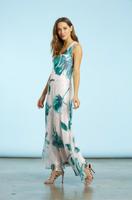 Komarov Emerald Spring Long Asymmetric Long Dress