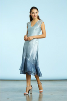 Komarov Ocean Blue Ombre V-Neck Dress