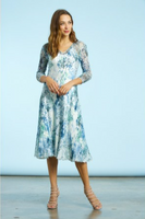 Komarov Water Lilies 3/4 Sleeve V-Neck Dress