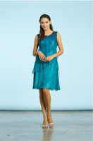 Komarov Marine Night Ombre Tiered Chiffon Dress