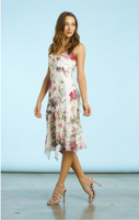 Komarov English Bloom Tiered Chiffon Dress