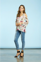 Komarov English Bloom Cold Shoulder Top