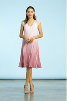 Komarov Pink Rose Ombre V-Neck Asymmetric Ruffle Dress