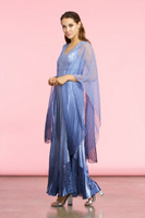 Komarov Persian Blue Ombre Long Dress with Wrap