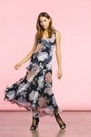 Komarov Desert Rose Long Ruffle Dress