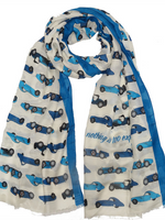 On Your Marque Bugatti Automobile Scarf Two-Tone Blue/Pearl