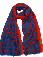 On Your Marque Ferrari Automobile Scarf Red/Navy