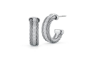 Alor 2 Cable Grey Hoop Earrings with Diamonds