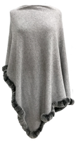 Rabbit Trim Poncho in Grey