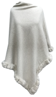 Rabbit Trim Poncho in Ivory