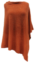 Augustina's Embellished Poncho in Rust