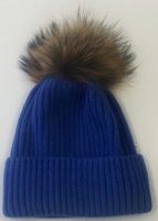 Augustina's Fur Pom Pom Beanie - Blue