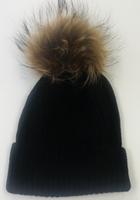 Augustina's Fur Pom Pom Beanie - Black