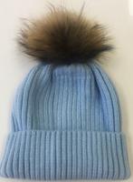 Augustina's Fur Pom Pom Beanie - Caroline Blue