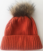 Augustina's Fur Pom Pom Beanie - Orange