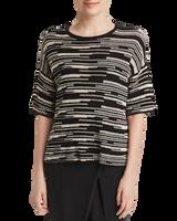 Eileen Fisher Organic Linen & Cotton Line-Print Top