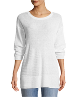 Eileen Fisher Organic Linen 3/4-Sleeve Easy Tunic - White
