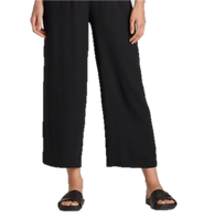 Eileen Fisher System Silk Georgette Straight Cropped Pant