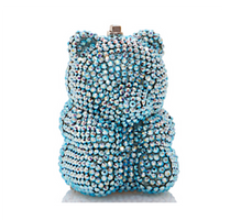 Judith Leiber Couture Blue Shimmer Gummy Bear Pillbox