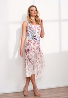 Komarov Round Neck Ruffle Dress