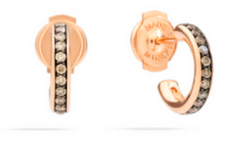 Pomellato Iconica Rose Gold & Brown Diamond Small Hoop Earrings