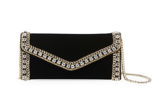 Judith Leiber Couture Black Velvet & Champagne Envelope Clutch