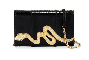 Judith Leiber Couture Black Elaphe Serpent Clutch