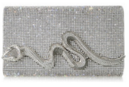 Judith Leiber Couture Silver Fullbead Serpent Clutch