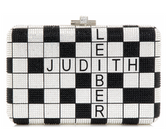 Judith Leiber Couture One Across Silver Clutch