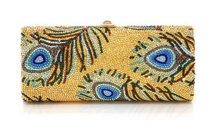 Judith Leiber Couture Disney Peacock Feathers Clutch