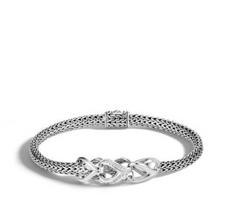 John Hardy Asli Classic Chain Link Silver Bracelet with Diamonds